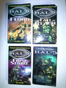 Lot of 4 Paperback HALO Game Novels (Used)