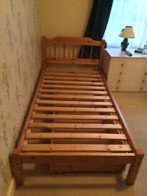 Solid Pine Single Bed with 2 Drawers Under and Mattress Topper