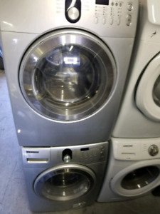 SAMSUNG SILVER STACKABLE WASHER & DRYER PAIR