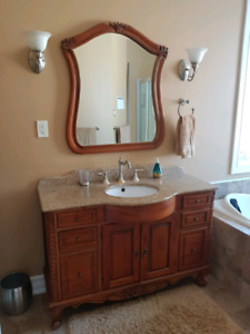 Bathroom Vanity and Mirror For Sale