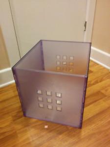 Two Ikea KALLAX plastic basket