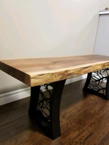 Live edge walnut bench with custom steel legs