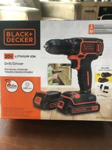 New Black and Decker 20V Drill, 2 batteries, charger