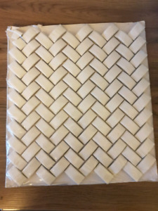 White 3D mosaic herringbone backsplash tile
