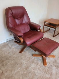 Retro Anderssons of Sweden leather swivel recliner and footstool