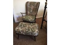 ERCOL 478 WINDSOR HIGH BACK EASY CHAIR AND OTTOMAN