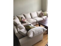 Corner Sofa light beige fabric