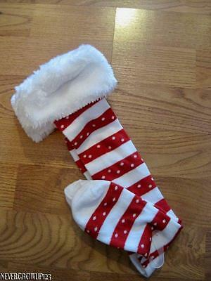 WOMENS KNEE HIGH RED~WHITE STRIPE CANDY CANE CHRISTMAS SOCKS~WHITE FAUX FUR~NWT