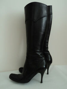 Black leather  knee high boots ( Made in Italy ) size: 36