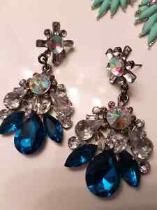 BRAND NEW 2 sets of crystal clear and blue earrings