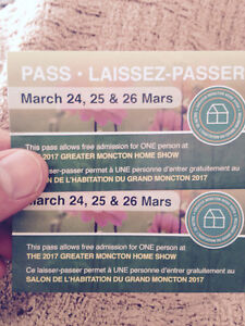 Moncton home show tickets 20$/pair!!