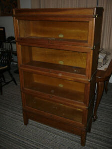 Vintage 4 Tier Oak Barristers Bookcase with a Drawer