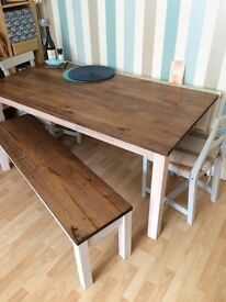 Solid oak dining table with bench & 2 chairs