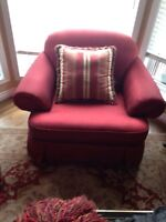 Red Fabric Couch and Chair