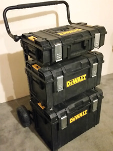 Dewalt Tough System dolly. Small, Medium, and Large case toolbox