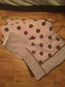Crib Bedding - Pink with Brown Dots
