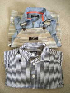 OshKosh Baby Boy Shortalls Set + 1 Long Sleeves Shirt, 12 months