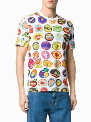 Love Moschino White Stickers Print T-Shirt, Size M