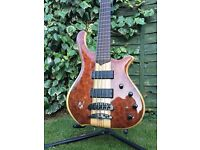 Trades? Mayones Victorious Redwood Burl Classic 5 string with neck through construction bass guitar