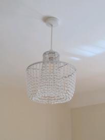 Silver/glass pendent/chandelier lighting 25cm diameter