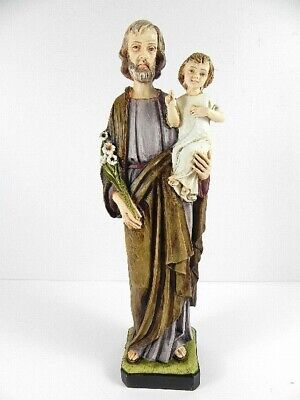 Josef with child Giuseppe, 32 cm Statue, Made in Italy Statuette, New