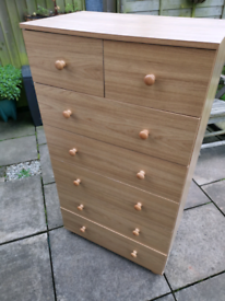 2 over 5 tall chest of drawers in light oak effect