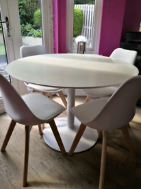 Habitat round white dining table and chairs