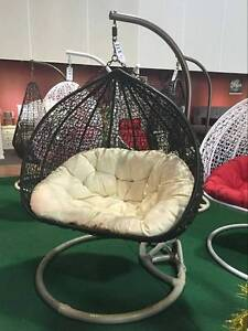 DOUBLE EGG SWING CHAIR BLACK COLOR WITH CREAM CUSHION Ravenhall Melton Area Preview