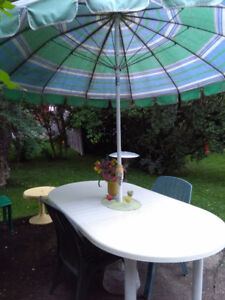 Patio set:table,umbrella, chairs, lounger, cushions