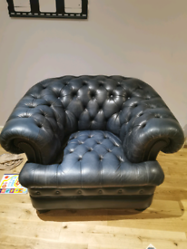 Gladstone Chesterfield armchair, leather