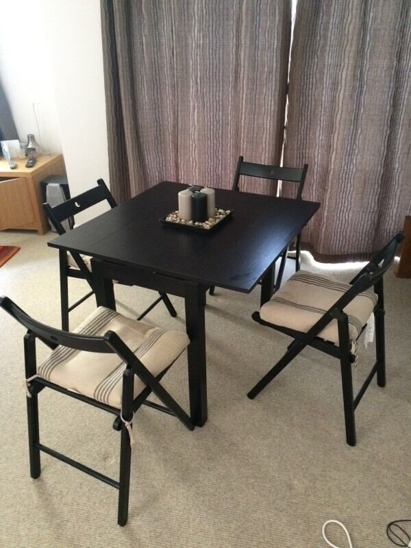 ikea bjursta extendable table and folding chairs in clifton bristol gumtree. Black Bedroom Furniture Sets. Home Design Ideas