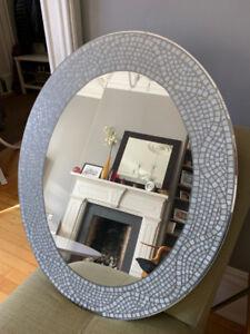 "Grey, mosaic style oval mirror, 29"" x 23"""
