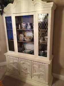 Wooden China Cabinet - Annie Sloan Paint, Old White Colour