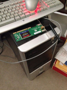 Old PC computer with keyboard, LCD monitor and mouse