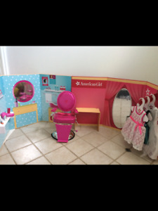 American  doll backgrounds, outfits, accessories and Salon chair
