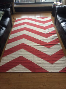White and Red Wool Area Rug - very good condition