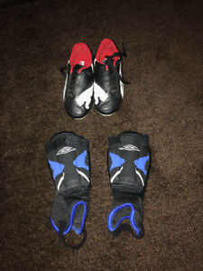 Puma Soccer Shoes for kids US Size 11 with shin guards