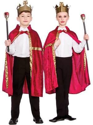 Royal Kings Boys Fancy Dress Tudor Medieval Fairytale Burgundy Robe Crown 5-10
