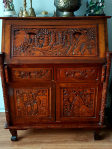 Hand carved original desk and table