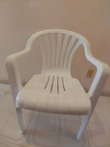 Nice white patio chairs - 6 available - great value!