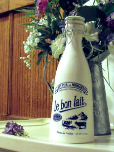 Vintage French Milk Bottle in White and Blue  !