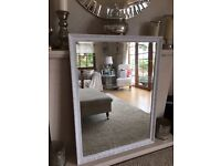 XL ORNATE SHABBY CHIC WHITE VINTAGE MIRROR ( reduced) *******^