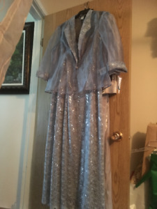 New Women's Formal Dress with Jacket  shimmery blue Grey