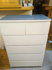 IKEA malm 6 drawer chest of drawers with glass top