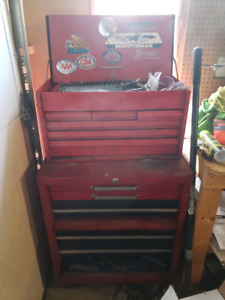 Toolbox with misc hand tools and parts