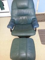 leather reclining chair with foot rest
