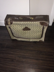 Suitcase yellow and brown - $15 (Langley)