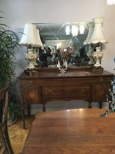 Antique sideboard and buffet hutch