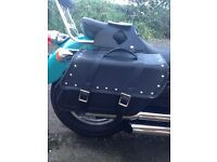 Studded leather-look waterproof panniers- NEW
