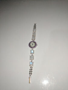 Natural Moonstone, Amethyst, and Mother of Pearl Studded Watch